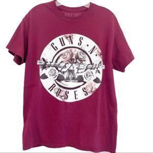 Guns N Roses Graphic Band Tee Shirt Maroon M
